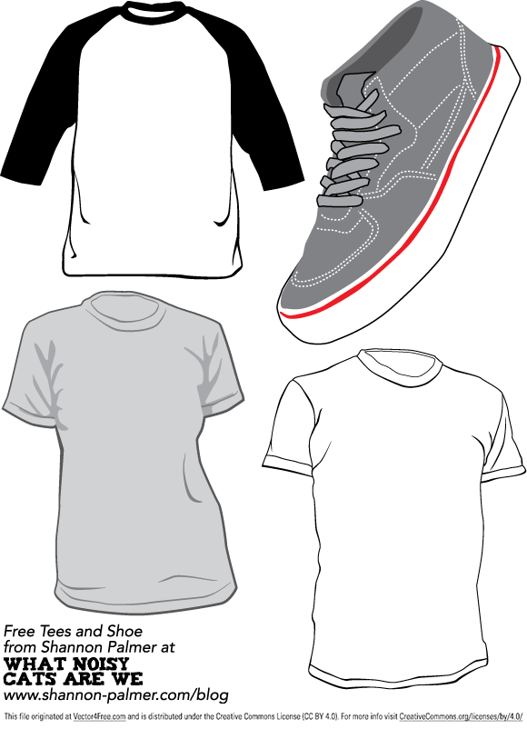 A set of vector t-shirts and a Vans Half-Cab shoe. The shirts can be used to demonstrate your own t-shirt designs. These images are free for you to use in any way you would like, and as always, I only ask that you don't sell them as your own.