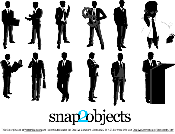 free vectors graphics - 12 Free Vector Businessman Silhouettes