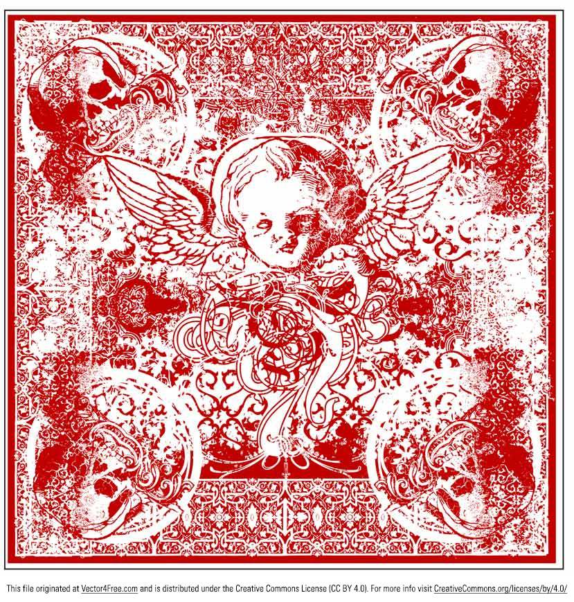 Introducing the wicked cherub bandana vector design. This wicked cherub bandana vector is detailed and print ready and is for you to use and abuse. 
