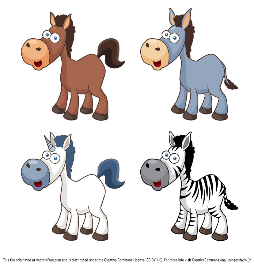 12 Vector Cartoon horse icons in this.