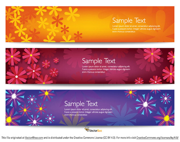 Colorful set of three vector flower banners.