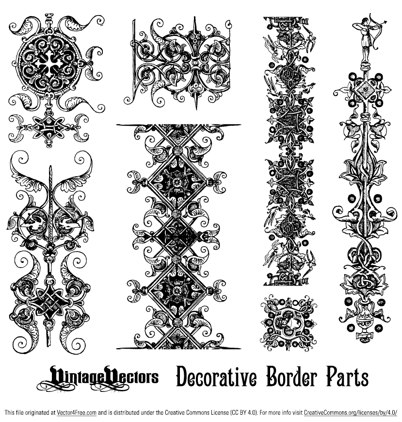 Looking for ornamental borders? Here you have gorgeous ones - highly detailed ornamental elements in the EPS format. This ornamental vector graphic contains 7 individual decorative elements. Download and use Decorative Borders Elements Vector Graphic for free.