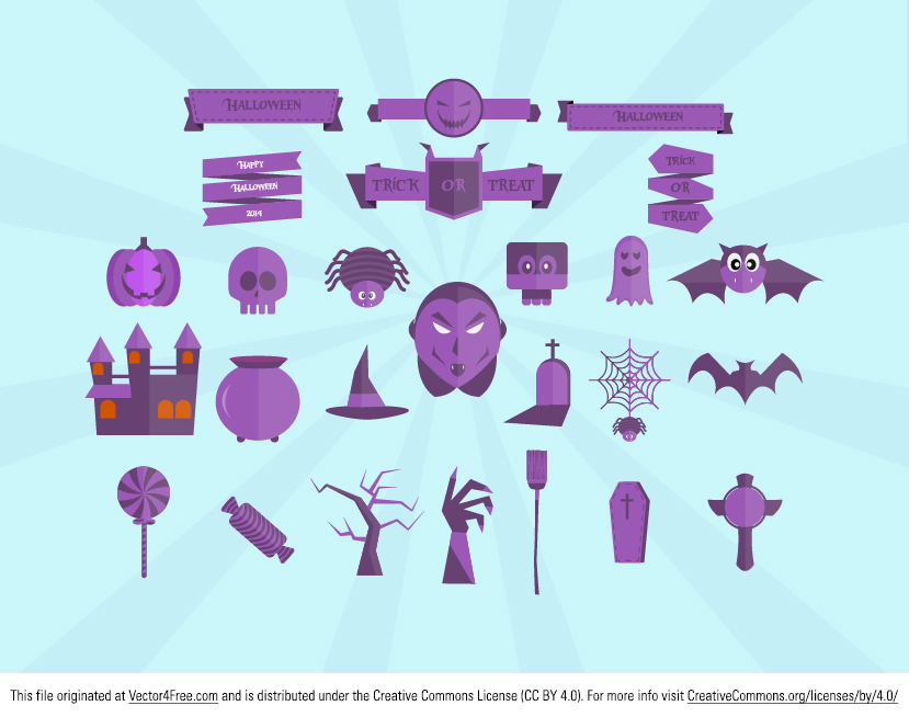 Introducing the new Flat Halloween Vector Pack! These flat Halloween vectors are free to use. 26 different Flat icons including Ribbons, Ghosts faces, Broom Stick, Spooky House, Graveyard, Candies. Free vector images for personal use and commercial use.