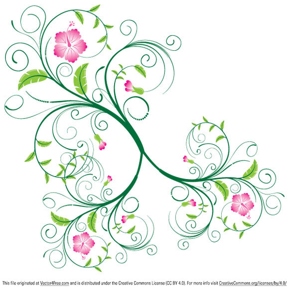 Cartoon Flower Vines Free swirl floral vector