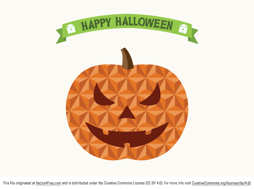 Free Vector Flat Geometric Jack O' lantern / Pumpkin for your Halloween design in ai format