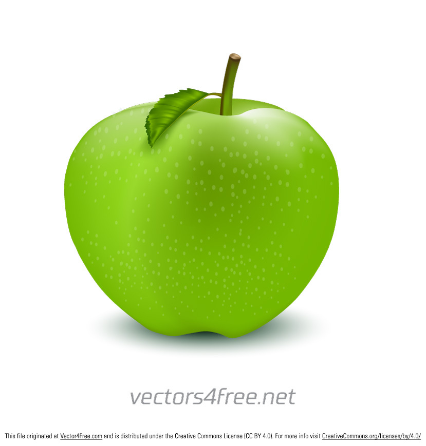A Beautiful Green free apple illustration vector, with a green leaf isolated on a white background. ile Type: Adobe Illustrator CS6 ( .Ai)