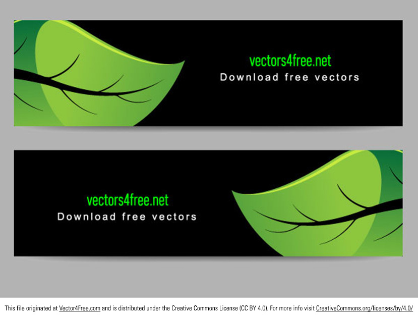 Here are a couple simple but bright and lively green leaves banner vectors. Use these eco style green banner vectors for any nature or eco or science project. I hope you like these!