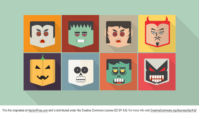 Set of awesome Flat Halloween Vector Characters. Free for personal and commercial use. This Halloween vector character set includes a vampire monster, Frankenstein, a devil, a ghost, and a pumpkin.