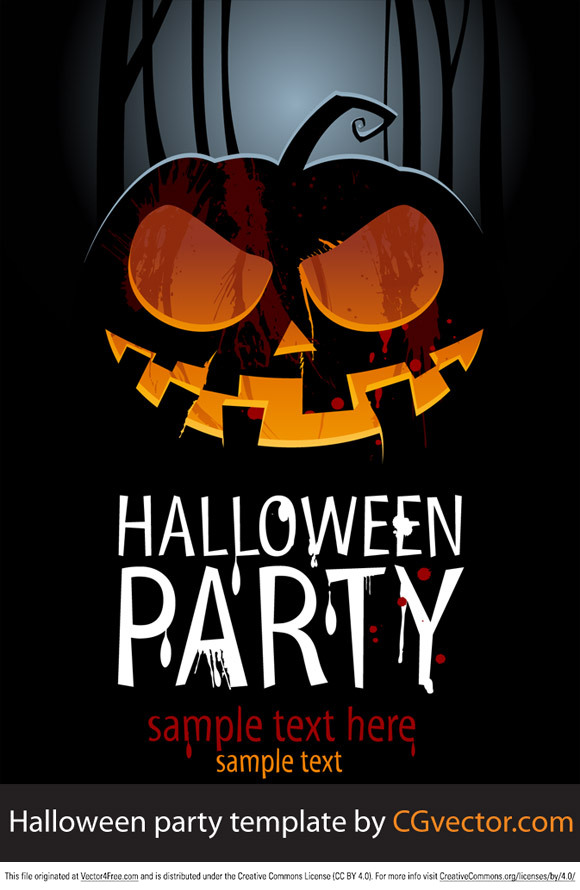 Horror pumpkin with Halloween party template 