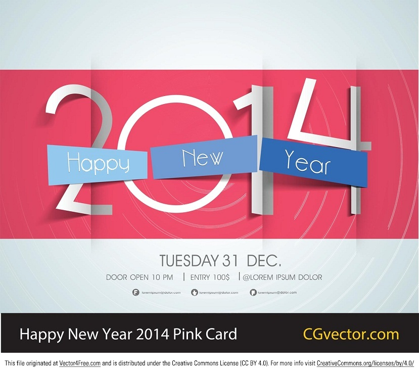 Download this free happy new year pink greeting card in vector format for 2014! Licensed under CC3.0 which means you need to link back!