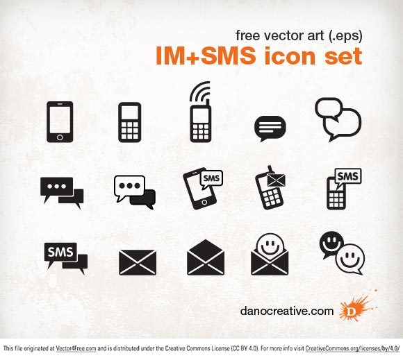 This is a high-quality vector art pack  includes 15 icons for instant messaging and SMS text messaging. You are welcome to use these icons in your personal and commercial projects. This icon pack is royalty-free, but please refrain from reselling the elements. Please credit the source DanoCreative.com when sharing elsewhere on the web. The file format is Adobe Illustrator 8 (.eps), and it should work well in most Adobe products.