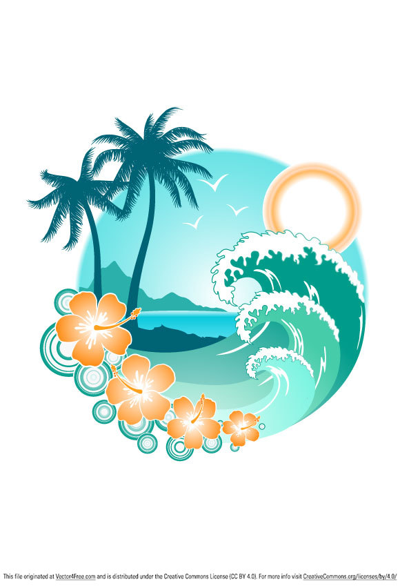 What is your dream summer vacation? Maybe on an island like this. Download this nice summer vector graphic and feel summer.