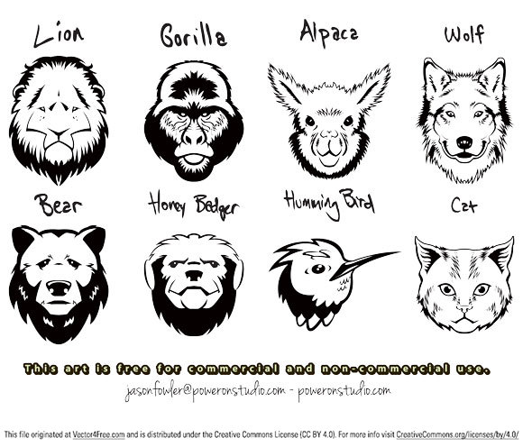 This file contains 8 animal head vectors - Enjoy!