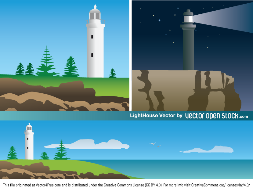 A lighthouse is a tower, building, or other type of structure designed to emit light from a system of lamps and lenses and used as an aid to navigation for maritime pilots at sea or on inland waterways. Lighthouses mark dangerous coastlines, hazardous shoals, reefs, safe entries to harbors, and can also assist in aerial navigation.  This illustration shows a lighthouse in a scenic landscape over the cliffs overseeing the open sea. This vector graphic is under Creative Commons Attribution License. Download and enjoy!
