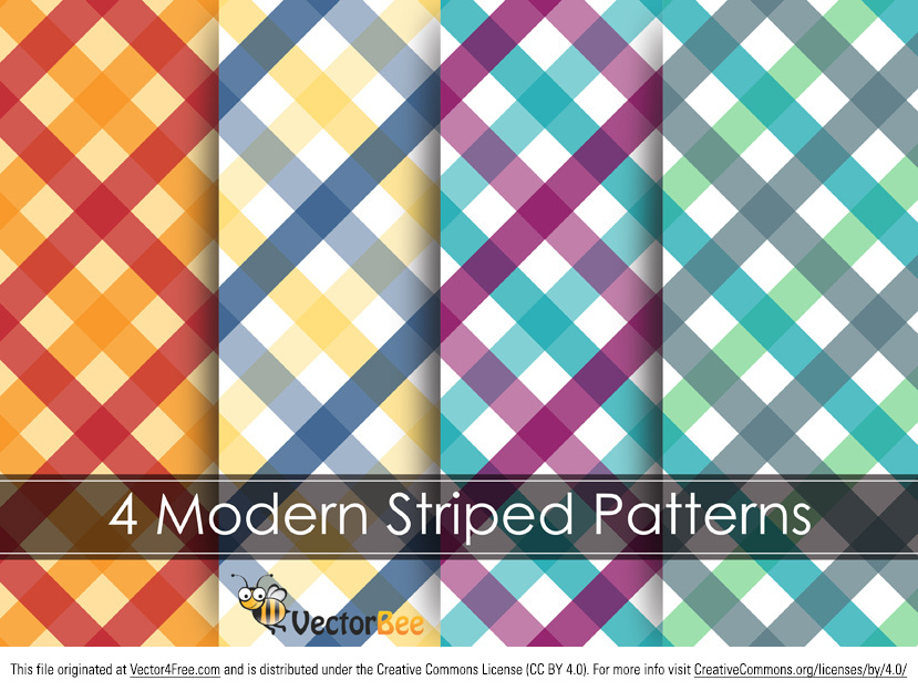 This pack of four modern striped patterns in a different colors can be used as a background for restaurant site, the pattern on the tablecloth or whatever you wish. Download this Striped Pattern Vector Graphic and create some awesome designs.