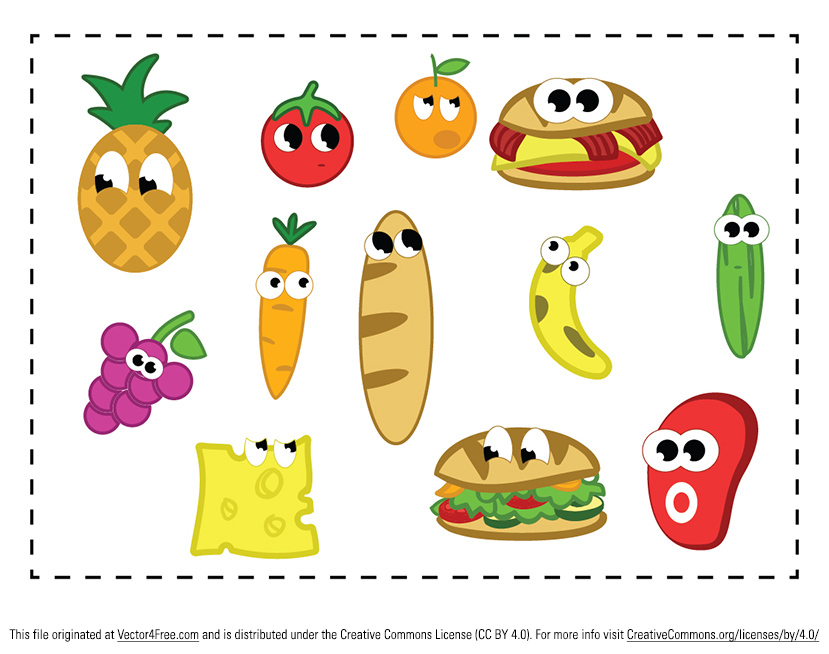 The Cartoon Food Vector Pack characters of