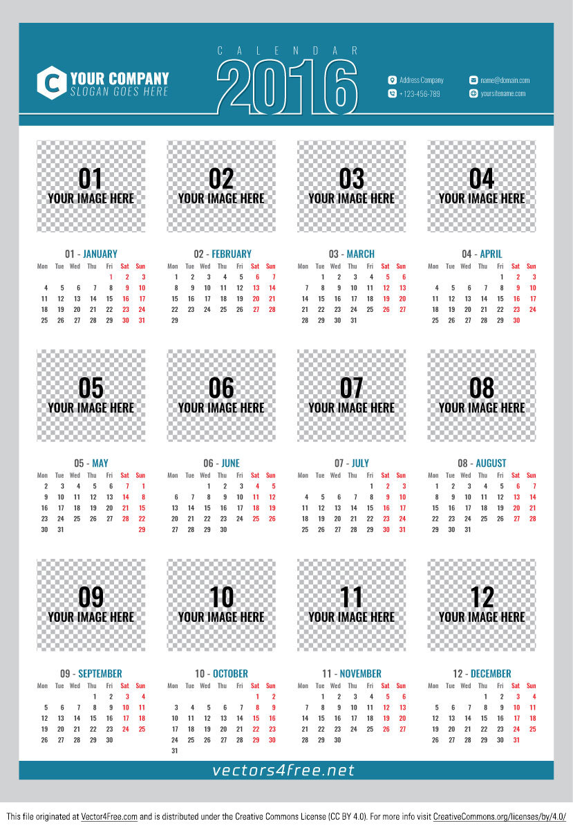 A clean free Poster calendar 2016 vector. Fully Ready, Editable and Customizable: A2 Size (420x594mm), 12 months on page, CMYK color mode and ready for print. Have fun!