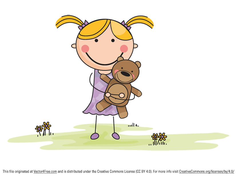 Vector Cute Cartoon Girl with Stuffed Animal in a Green Field - she's so adorable!