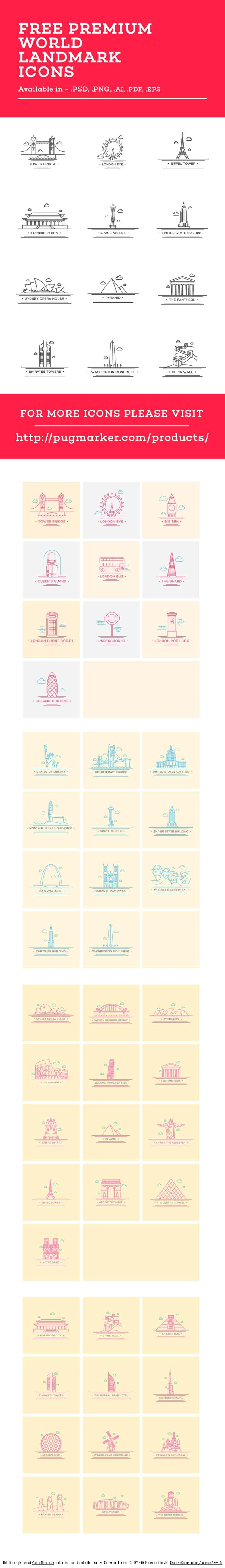 World landmarks crafted with beautiful line art style. Best for website, merchandise, print material, etc.