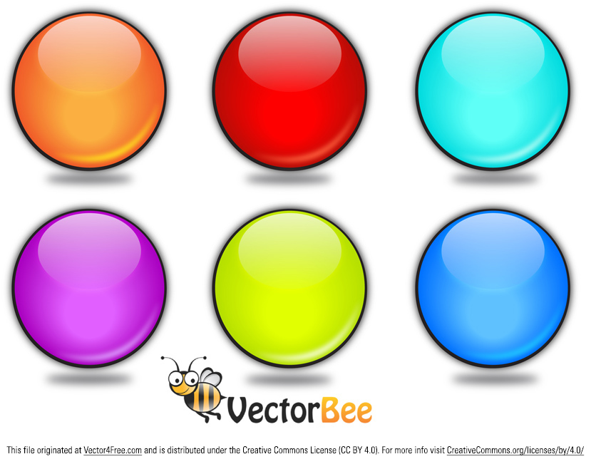 Download this colorful rounded vector buttons in six different colors.