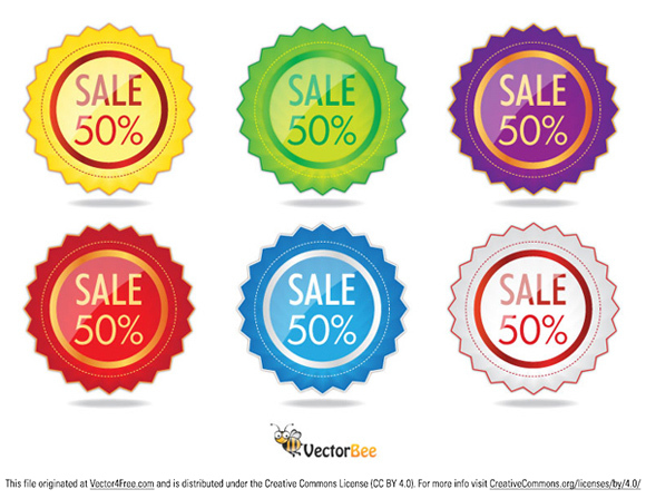 Set of 6 Sale/Discount label vectors in different colors.
