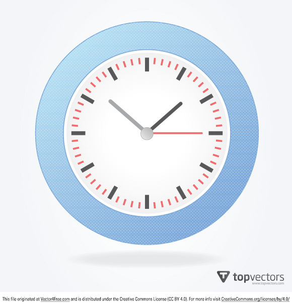 A simple analog vector clock with a blue textured rim and white plate.