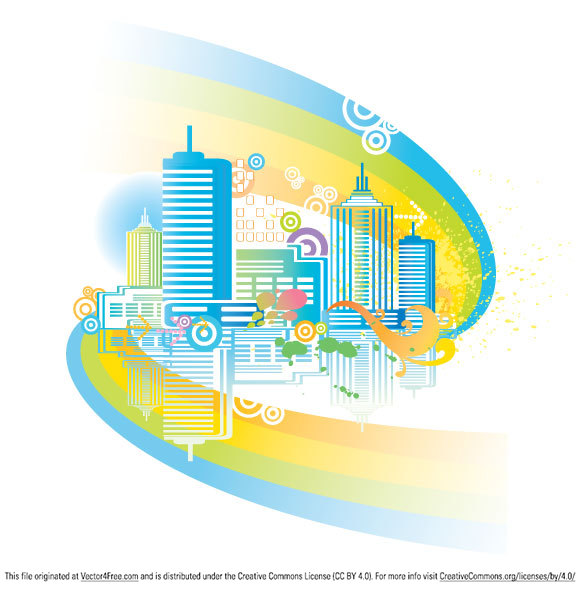 Colorful city vector file free to download.