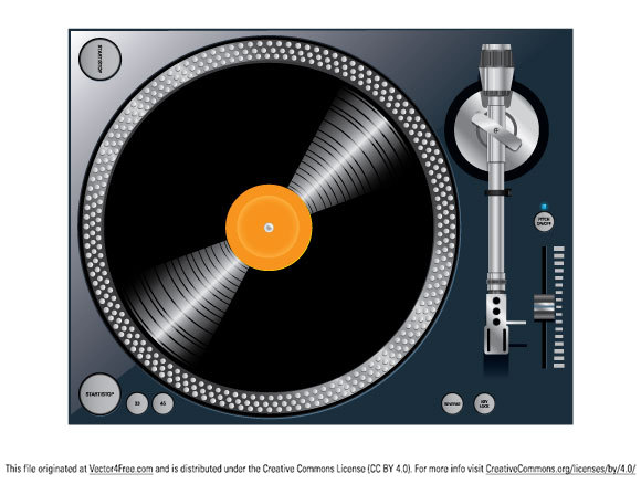 Free Vector turntable, pack contains .eps file and .Ai file of the design.