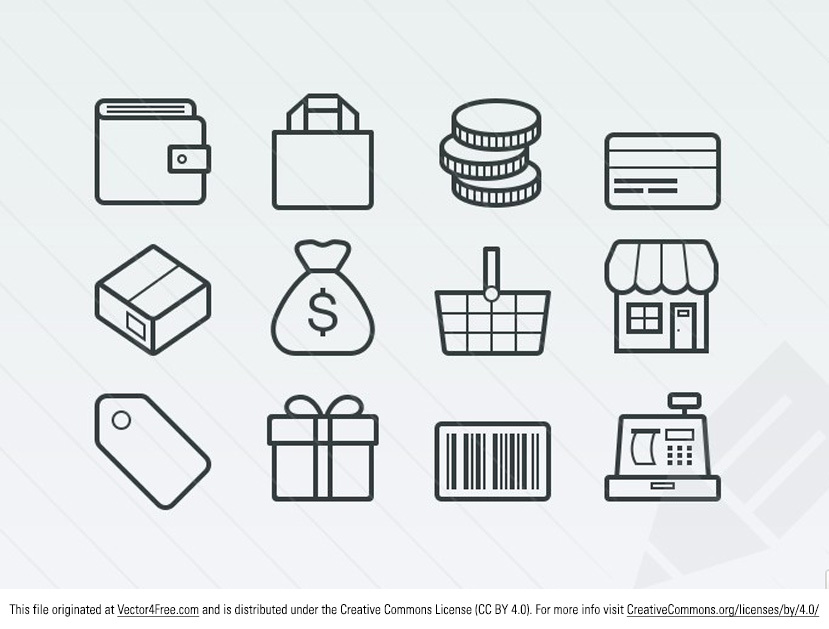 This pack contains 15 free outlined vector icons for ecommerce and shopping. These scalable vectors include online store related icons such as money, a store front, shopping bag and cart, sale tag, barcode and cash register.