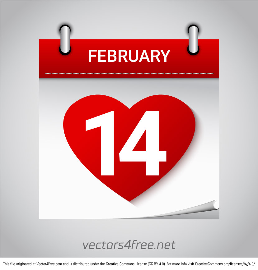 Get this adorable free Valentines Day February 14 heart calendar icon vector for this coming Valentine's Day - it's right around the corner! Fully editable text and very easy to edit colors with Adobe Illustrator CS6 ( .Ai). Free font used