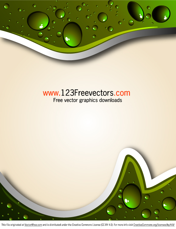 Free vector illustration abstract background with water drops on green. Free vector design by www.123FreeVectors.com