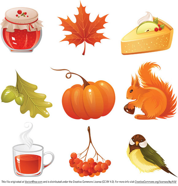 2 vector autumn icons set in eps format, 