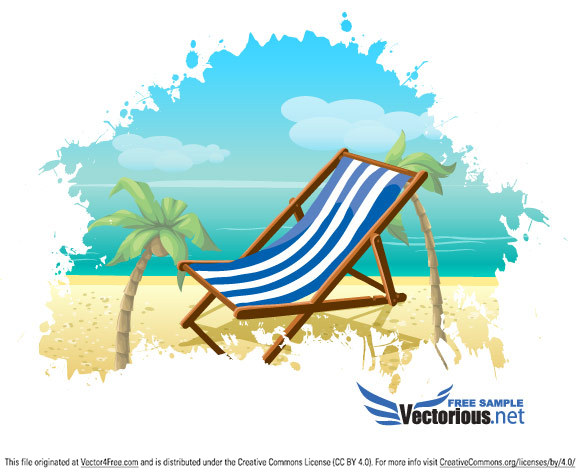Great summer vector illustration with deck chair and palms on the beach. Download this summer vector for free.