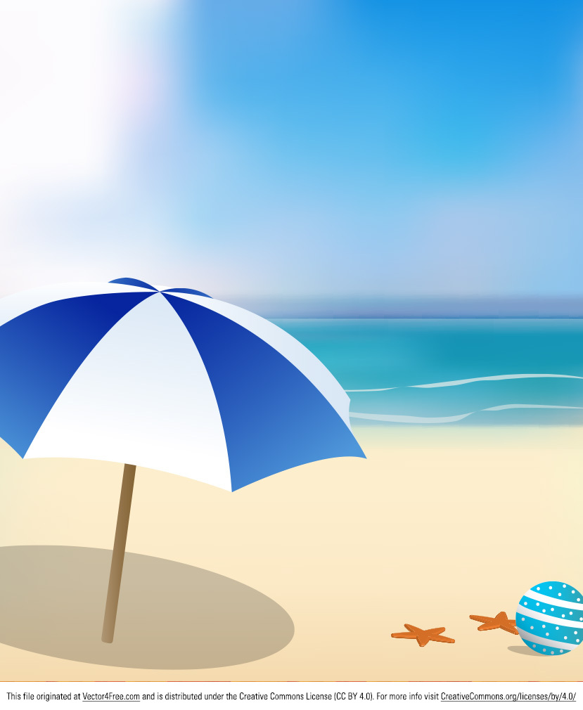 It's summer and that means it's time for the beach! I've made this sunny beach background vector with some space for text or a message if you want to use it as a poster or an invitation. 