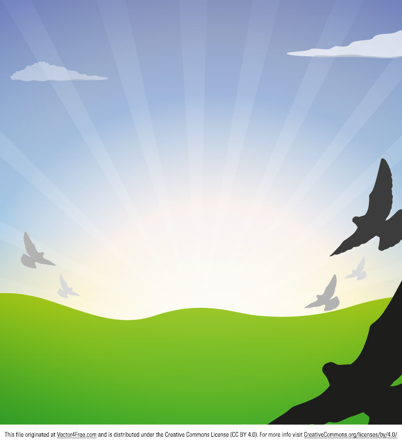 Here's another new file - the Flying Bird Vector Landscape. With the bird vector silhouettes and the sunburst nature vector landscape, this file could be used in lots of ways.