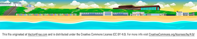 This is a landscape vector of Bournemouth's beach in Dorset, UK. Visited by millions of people every year to enjoy their summer months. Vector includes the beach huts you find on Bournemouth beach, the BIC and the Oceanarium.  The scene looks best when rendered above 7000x1080px.
