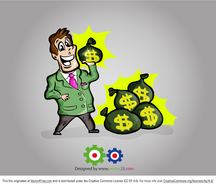 Everyone needs to make a dime, and this businessman making money is super happy about all his success. Hope you can use this Free Vector Businessman Cartoon in your work.