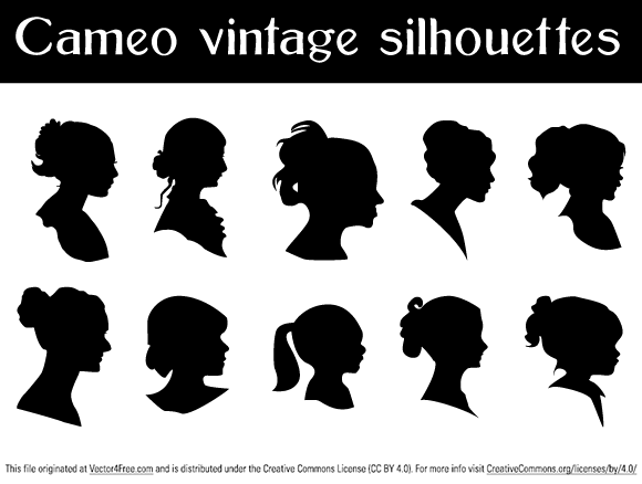 I needed Vector Cameo Silhouettes to work, and not found anything available so I decided to prepare this collection of 10 free vector Cameo Silhouettes by myself and of course share it with you.