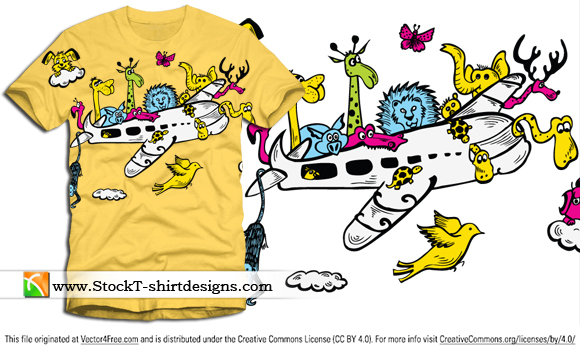 Cute cartoon animals riding airplane  with free vector art t-shirt design. Free vector T-shirt designs by www.StockT-shirtDesigns.com