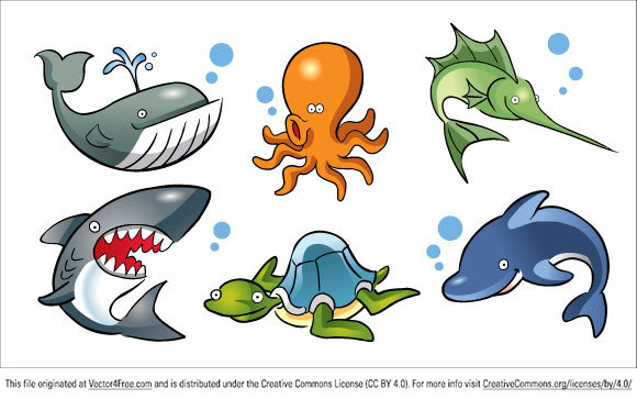 This Cartoon Sea Animals Vector Pack contains such sea animals as: saw fish, shark, whale, turtle, octopus, dolphin all in vector format. You can download this free EPS Cartoon Sea Animals file and use it in your personal projects.