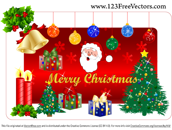 Christmas Vector: Christmas Gift Free Illustrator Vector Pack from www.123FreeVectors.com
