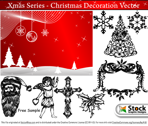 Free vector samples - Vector illustration of Christmas decoration vector series. Included in the Xmas series is Christmas backgrounds, snowflakes, hand drawn angels, Xmas borders, cross, Xmas elements, Jesus, praying hands, Santa Claus and Xmas tree. From www.StockGraphicDesigns.com