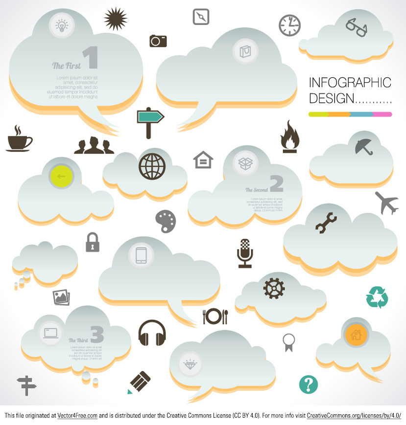 Designing infographics just became a lot easier with the new Could Infographic vector set! Communicate your ideas effortlessly with this new free cloud infographic vector set! A rich collection of cloud infographic vector designs and icons, this is a must have for every designer!