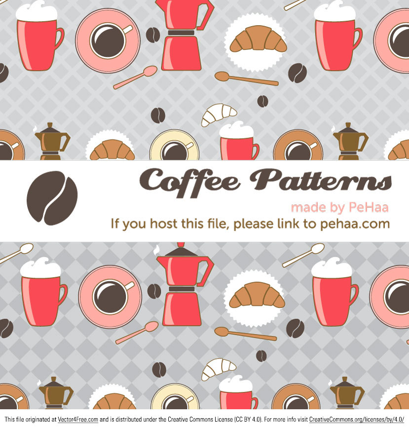 Enjoy this free coffee and croissant vector pattern made with adobe illustrator. This vector pattern has a retro flair along with a transparent background to make it easily editable into your designs. As always, my patterns are free for personal and commercial use.