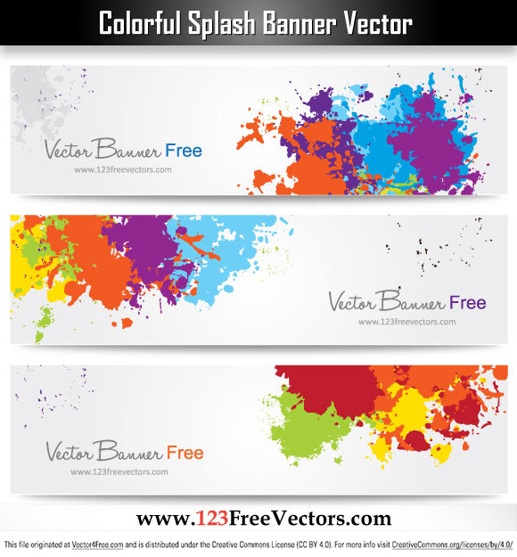 colorful splash banner free vector graphics design free vector design by www123freevectors
