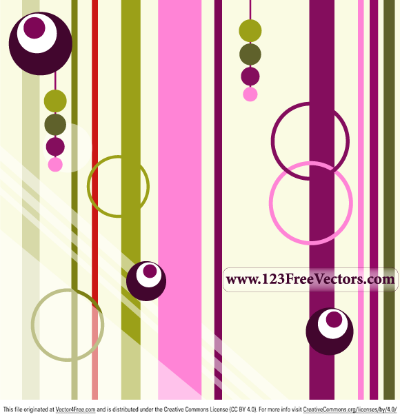 Colorful Retro Background Free Vector Illustration by www.123FreeVectors.com