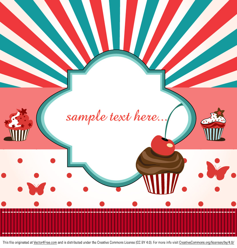 Your designs can be delicious too with this Cup Cake Card vector! Cute and retro, this cup cake card vector is perfect for your projects. Download this new free cup cake card vector and stay trendy!
