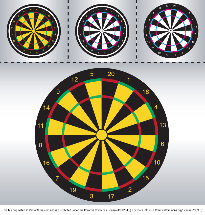 Aim for the first place with the new Dart Board Vector. Coming in several variations, the new free dart board vectors are suitable for any of your projects. Start using the dart board vectors today and improve your designs.