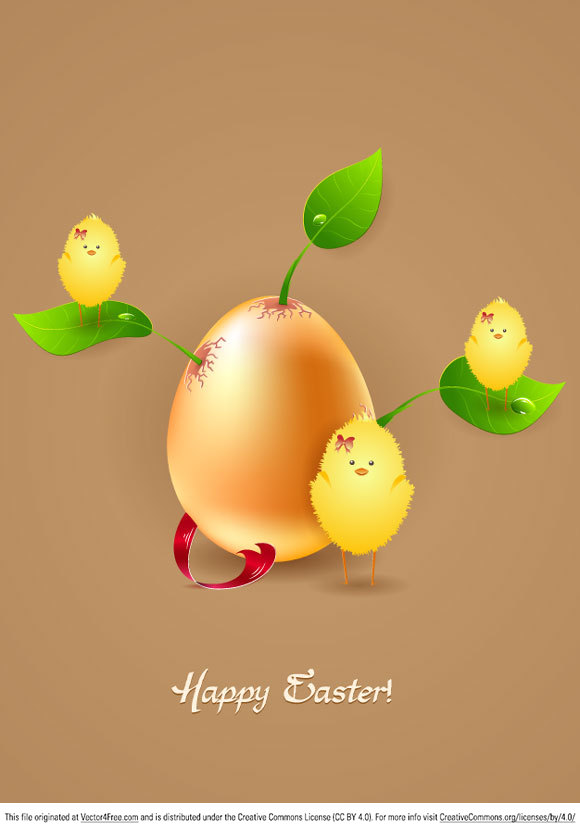A really beautiful Easter illustration with an egg surrounded by leaves and chicks (no, not that kind of chicks!). Enjoy!