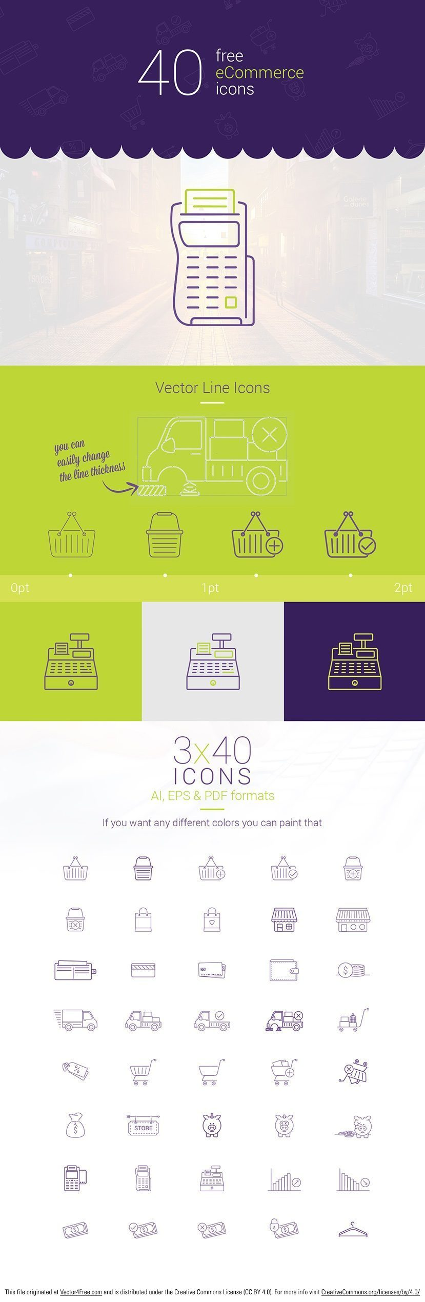 Check out this new download of free 40 vector eCommerce icons in three different colors. Free download contain both, Adobe illustrator (.ai), PDF and Encapsulated PostScript (.eps) file formats.